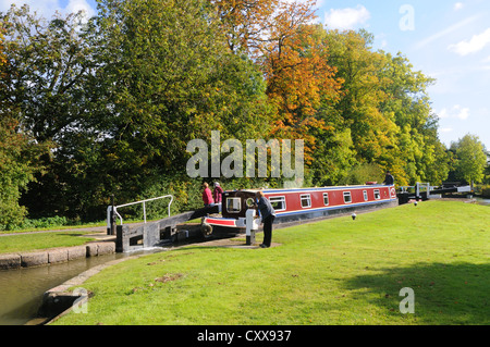 66' narrowboat 'Lord Portal' in Lock No. 2 of the Watford flight on the Grand Union Canal at Watford, Northamptonshire, - Stock Photo
