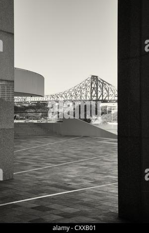 Brisbane's Story Bridge as seen from Eagle Street. - Stock Photo