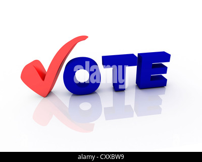Vote text with check mark - Stock Photo