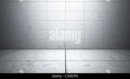 Empty room with walls made of concrete slabs and a smooth concrete floor, 3D illustration - Stock Photo