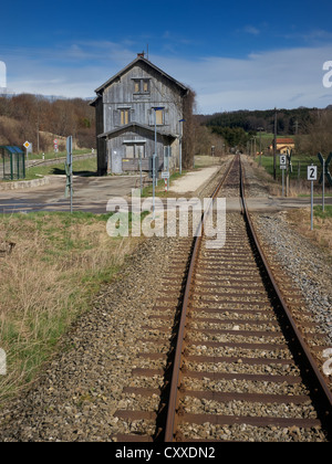 Disused railway station, route of the Swabian Jura Railway, SAB, from Gammertingen to Muensingen, seen from the - Stock Photo
