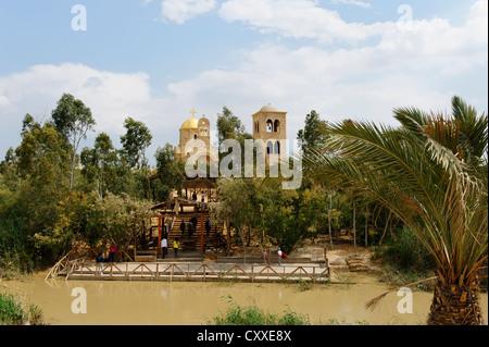 Kasr al-Jahud at the Jordan river, baptismal site of Jesus Christ, Greek-Orthodox church on the Jordanian side, - Stock Photo