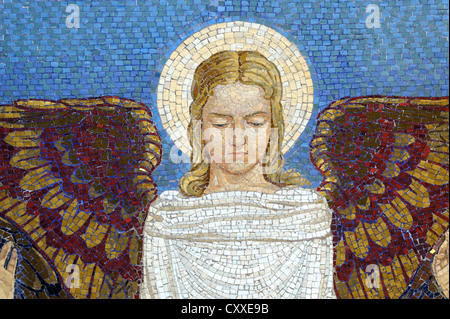 Angel, wall mosaic at the Church of the Transfiguration, Mount Tabor, Galilee, Israel, Middle East - Stock Photo