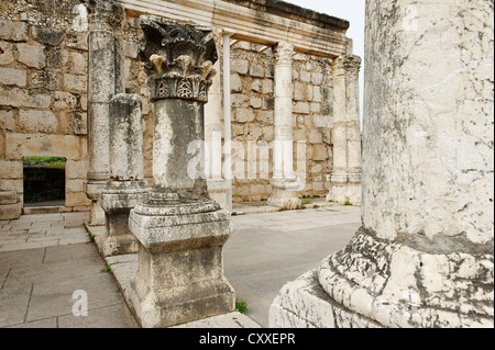 Excavations next to the house of Saint Peter, synagogue dating from the 5th century AD, Capernaum on the Lake of - Stock Photo