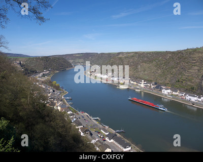View of St. Goarshausen and the Rhine River as seen from St. Goar, Rhineland-Palatinate, Upper Middle Rhine Valley - Stock Photo