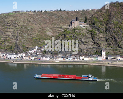 View of Katz Castle and the Rhine River as seen from St. Goar, St. Goarshausen, Rhineland-Palatinate, Upper Middle - Stock Photo