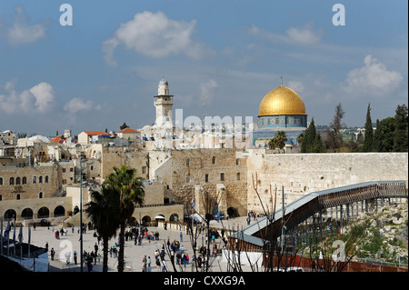 Dome of the Rock and Western Wall, Jerusalem, Israel, Middle East - Stock Photo