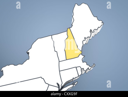 Map of New Hampshire, NH, USA, United States of America, contour, 3D illustration - Stock Photo