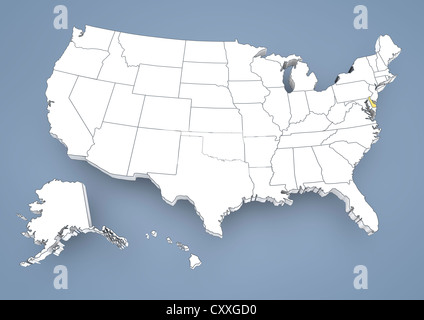 3D map of Delaware (United States of America) - white, yellow, blue ...