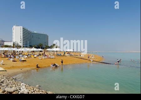 Beach, Ein Bokek, En Boqeq, Dead Sea, Israel, Middle East - Stock Photo