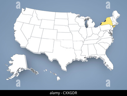 Illustration of the State of New York silhouette map and flag Its