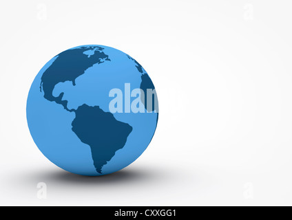 Globe showing South America and North America, 3D illustration - Stock Photo
