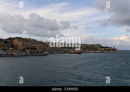 View of Valletta, as seen from the fortified city of Senglea, Malta, Europe - Stock Photo