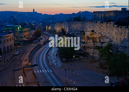 City walls, dusk, Old City, Jerusalem, from Paulus guest house, Israel, Middle East - Stock Photo