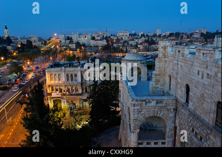 Dusk, Old City, from Paulus guest house, Jerusalem, Israel, Middle East - Stock Photo