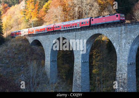 Ravennabruecke, Ravenna Bridge, of Hoellentalbahn, Hell Valley Railway, with train crossing, Hoellental, Hell Valley - Stock Photo