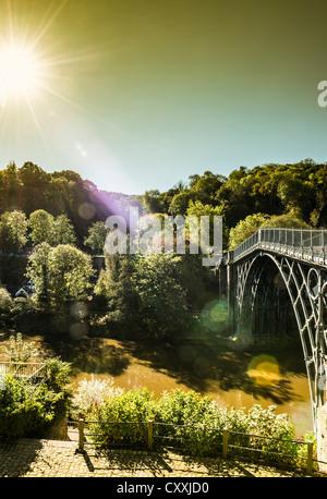The Iron Bridge in Ironbridge, Telford, Shropshire, England. A World Heritage Site. - Stock Photo