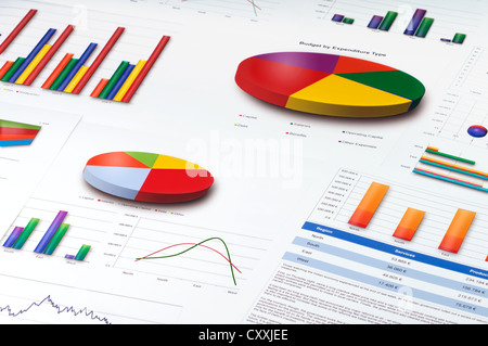 Graphs and Charts Report - Stock Photo