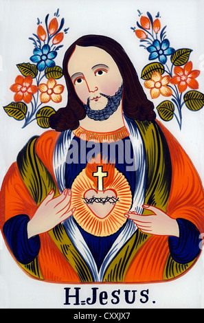 Sacred heart of Jesus, painting on glass, Sandl, Upper Austria, in private hands, Upper Bavaria - Stock Photo