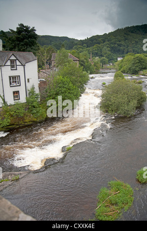 The River Dee at Langollen ,Wales UK. after an overnight of rain. - Stock Photo