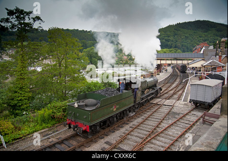 The Ruabon to Barmouth railway at Llangollen Wales. SCO, 8661. - Stock Photo