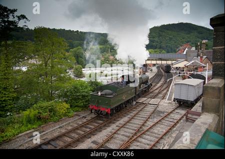 The Ruabon to Barmouth railway at Llangollen Wales. SCO 8662. - Stock Photo