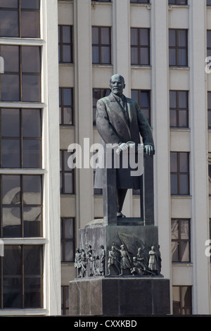 A statue of Lenin outside a government building in Minsk. - Stock Photo