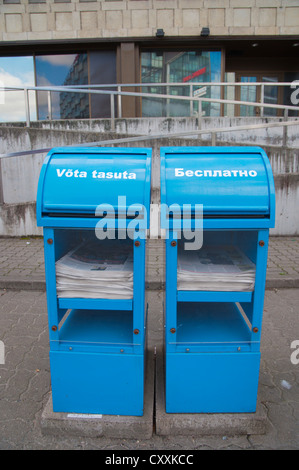 Estonian and Russian language free newspapers Tallinn Estonia Europe - Stock Photo