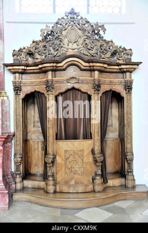 Confessional box, Basilica of St. Martin in Weingarten, Baden-Wuerttemberg - Stock Photo