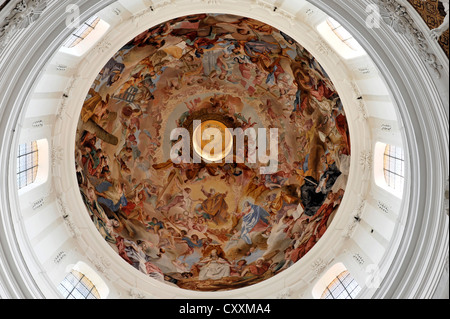Baroque dome, stucco and ceiling fresco by Cosmas Damian Asam, 1686 - 1739, Basilica of St. Martin in Weingarten - Stock Photo