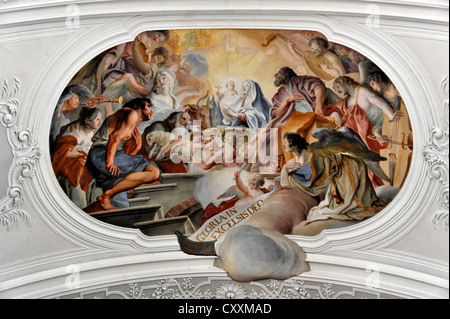 Stucco and ceiling fresco by Cosmas Damian Asam, Basilica of St. Martin in Weingarten, Baden-Wuerttemberg - Stock Photo