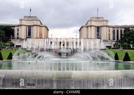Fountains in the Jardins du Trocadero park, Paris, France, Europe - Stock Photo