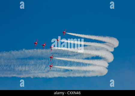 RAF Royal Air Force Aerobatic Team The Red Arrows - Stock Photo