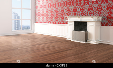 Empty living room with a fireplace, Baroque-style wallpaper and oak flooring, 3D illustration - Stock Photo