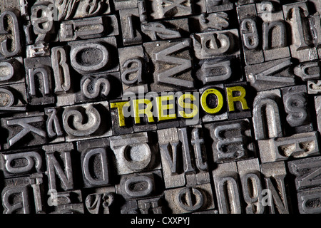 Old lead letters spelling the word 'Tresor', German for safe - Stock Photo