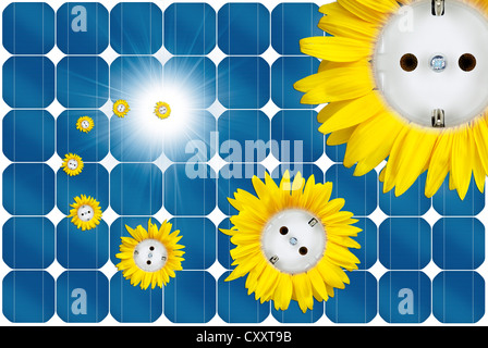 Symbolic image for solar energy, sun flower sockets flying out of a solar panel - Stock Photo
