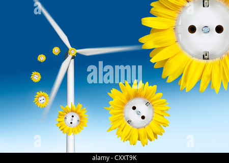 Symbolic image for wind power, sun flower sockets flying out of a wind turbine - Stock Photo