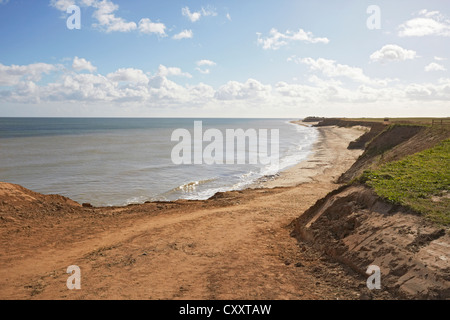 North Norfolk Happisburgh beach road coastal erosion - Stock Photo