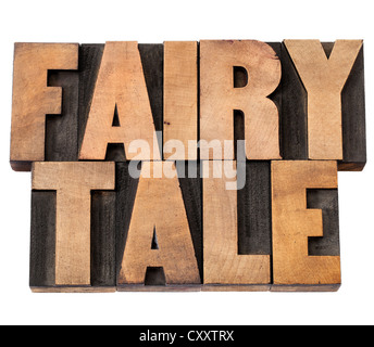 fairy tale - isolated text in vintage letterpress wood type - Stock Photo