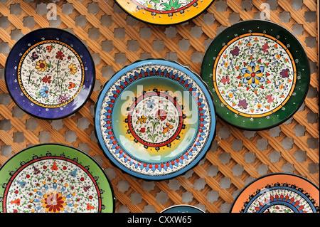 Ceramic plates, souvenirs, Cordoba, Cordoba Province, Andalucia, Spain, Europe - Stock Photo