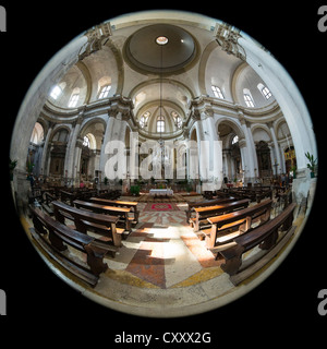 Circular 180 degree fisheye view of the interior of the Chiesa di San Geremia in Venice, which holds the relics - Stock Photo