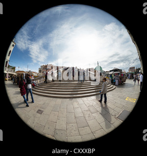 180 degree circular fisheye view of the Ponte degli Scalzi (the bridge of the barefoot monks) in Venice, from the - Stock Photo