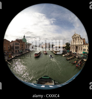 180 degree circular fisheye view along the Grand Canal of Venice from the Ponte degli Scalzi (the bridge of the - Stock Photo