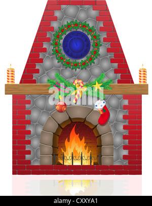 fireplace with christmas decorations illustration isolated on white background - Stock Photo
