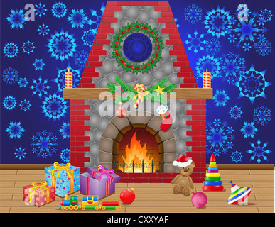 fireplace room with christmas gifts and decorations illustration - Stock Photo