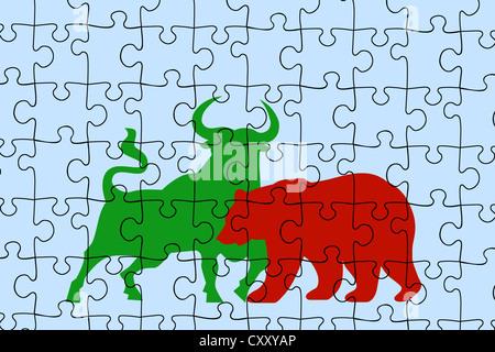 Jigsaw puzzle, stock market bull and bear symbols, illustration - Stock Photo