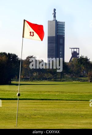 Schloss Horst golf course, lane 4, Par 4, Nordstern tower and mine pit, Gelsenkirchen, Germany - Stock Photo