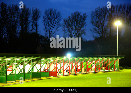 Driving range at night, illuminated, Schloss Horst golf course, Gelsenkirchen, Germany - Stock Photo