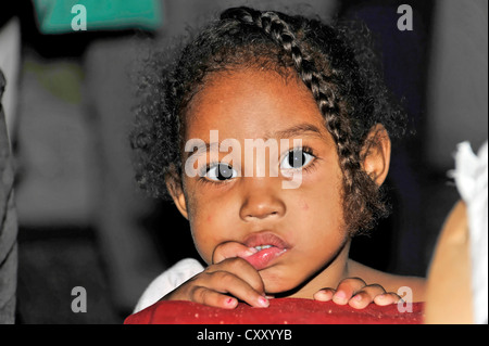 Cuban girl, portrait, Havana, Cuba, Greater Antilles, Central America, America - Stock Photo