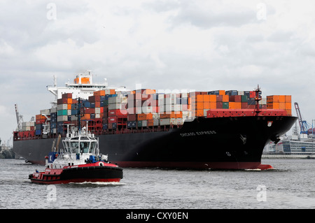 Chicago Express, cargo ship, container ship, 335m, built in 2006, Hanseatic City of Hamburg - Stock Photo